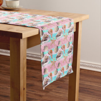 Sea Shells Pink and Turquoise Watercolor Medium Table Runner