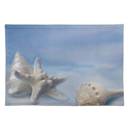 Sea Shells Star Fish Hand Painted Blue Watercolor Place Mats