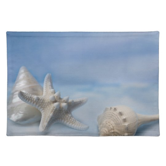 Sea Shells Star Fish Hand Painted Blue Watercolor Placemat