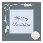 Sea Shells & Starfish Linen Wedding Invites