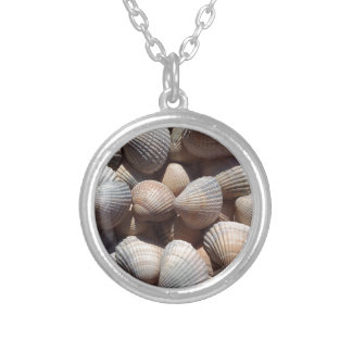 Sea Shells, Summer Beach Exotic Tropical Romantic Round Pendant Necklace