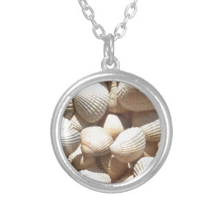 Sea Shells, Summer Beach Exotic Tropical Romantic Round Pendant Necklace