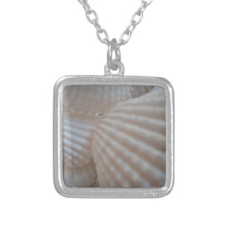 Sea Shells, Summer Beach Exotic Tropical Romantic Square Pendant Necklace
