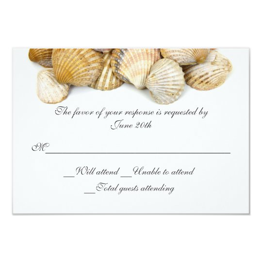 Sea Shells Wedding RSVP Card