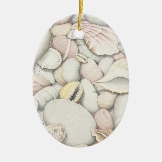 Sea Shels & Pebbles in Pencil Oval Ornament