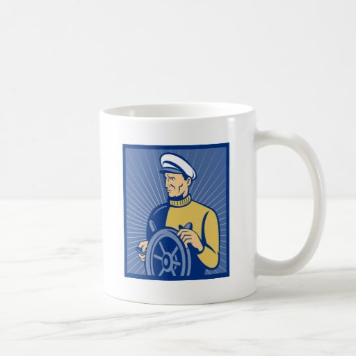Sea ship captain at the helm steering wheel coffee mugs