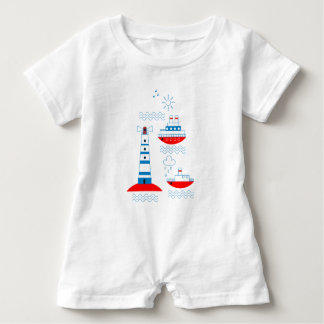 Sea, ships, lighthouses baby bodysuit