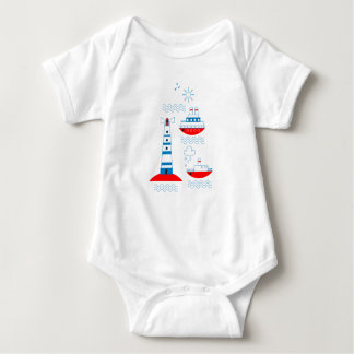 Sea, ships, lighthouses, seagulls baby bodysuit