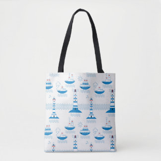 Sea, ships, lighthouses, tote bag