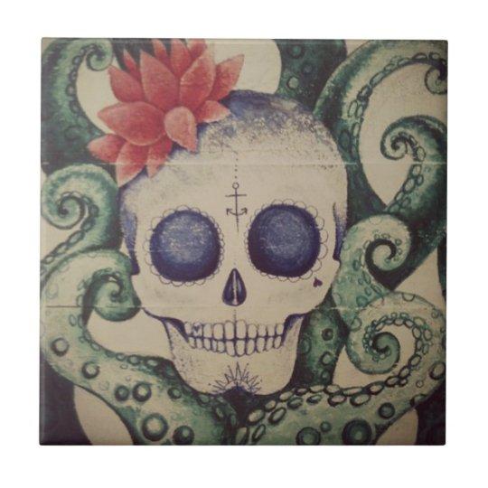 sea skull surf tile art mexican tattoo