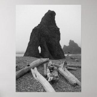 Sea Stacks Black and White Poster