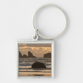 Sea stacks on the beach at Bandon, Oregon Key Ring