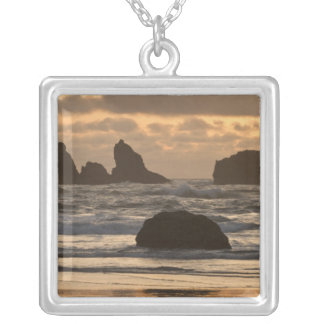 Sea stacks on the beach at Bandon, Oregon Silver Plated Necklace