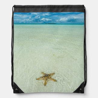 Sea star in shallow water, Palau Drawstring Bag