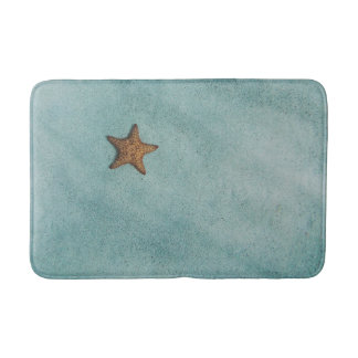 Sea Star in the sand, star fish, blue green Bath Mat