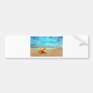 Sea Star On The Beach, Blue Sky, Ocean Bumper Sticker