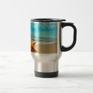 Sea Star On The Beach, Blue Sky, Ocean Stainless Steel Travel Mug