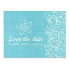 Sea star & swirls blue & cream save the date card