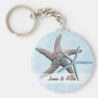 Sea Stars Favor With Names Basic Round Button Key Ring