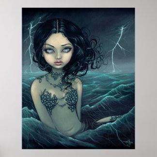 Sea Storm gothic mermaid Art Print