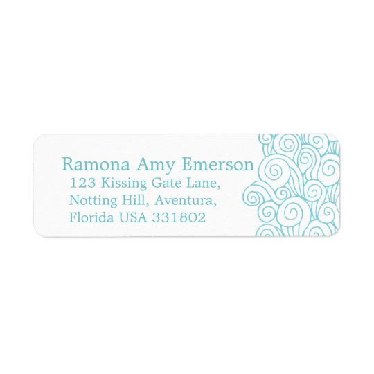 Sea swirl white slim wedding return reply label