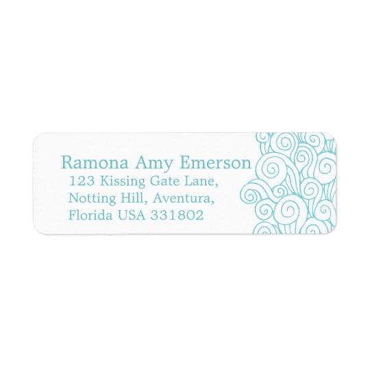 Sea swirl white slim wedding return reply label return address label