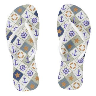 Sea Theme Pattern 2 Flip Flops