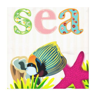 Sea themed Decorative wall art for Girl's Bedroom Gallery Wrap Canvas