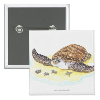 Sea Turtle and Babies 15 Cm Square Badge