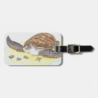 Sea Turtle and Babies Luggage Tag