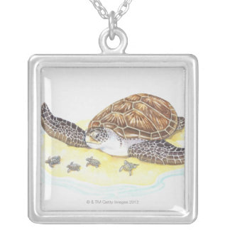 Sea Turtle and Babies Silver Plated Necklace