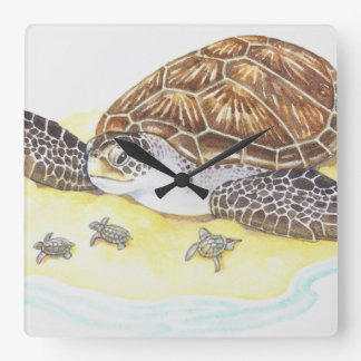 Sea Turtle and Babies Square Wall Clock