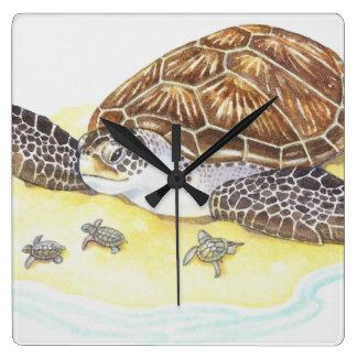 Sea Turtle and Babies Wall Clock