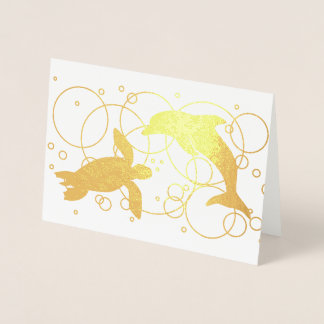 Sea Turtle and Dolphin Foil Card