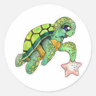 Sea Turtle and Starfish Classic Round Sticker