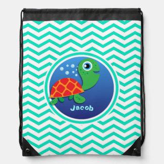 Sea Turtle Aqua Green Chevron Drawstring Backpacks