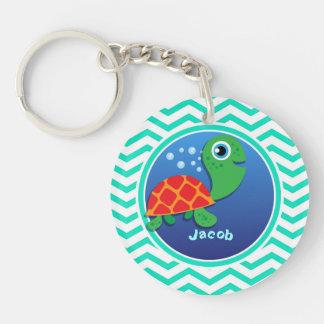Sea Turtle Aqua Green Chevron Acrylic Keychain