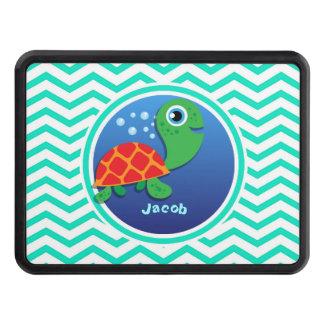 Sea Turtle; Aqua Green Chevron