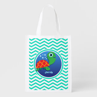Sea Turtle Aqua Green Chevron Reusable Grocery Bags