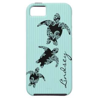 Sea Turtle Aqua Stripe with Name iPhone 5 Covers