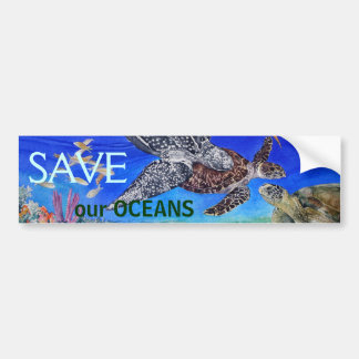 Sea Turtle Art Endangered Species Bumper Sticker
