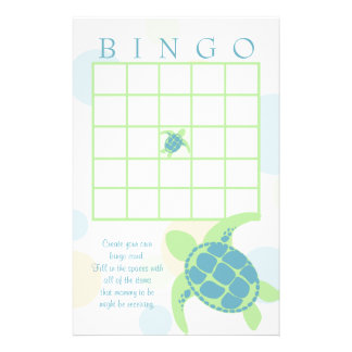 Sea Turtle Baby Shower Bingo Stationery Design