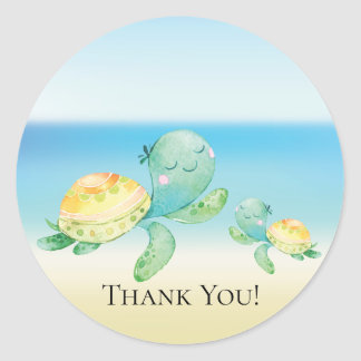 Sea Turtle Baby Shower Thank You Favor Sticker