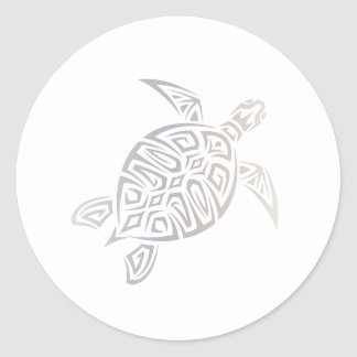 Sea Turtle Beige White Animal Tribal Classic Round Sticker