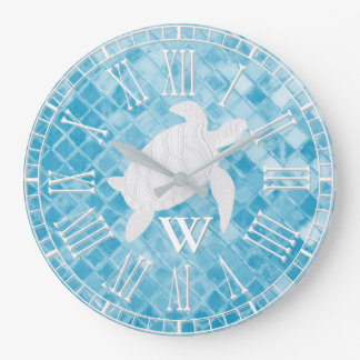 Sea Turtle Blue Sea Glass Monogram Large Clock