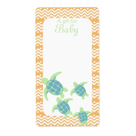 Sea Turtle Book Tags Baby Orange