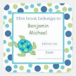 Sea Turtle Bookplate Label Blue Green Dot Square Sticker