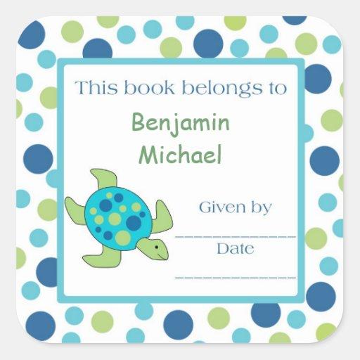 Sea Turtle Bookplate Label Blue Green Dot Sticker
