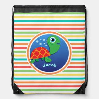 Sea Turtle Bright Rainbow Stripes Backpacks