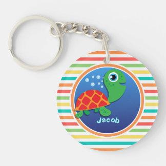 Sea Turtle Bright Rainbow Stripes Acrylic Key Chains